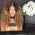 180% density Curly Ombre Full Lace Human Hair Wigs Brazilian virgin  Kinky Curly Lace Wig Glueless Ombre Human Hair Wig