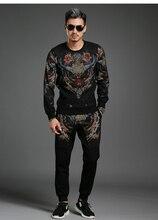 Осень новый отдых моды личности костюм с длинными рукавами мужчины установить два кусок костюм большой размер 4XL западного дизайна DT887