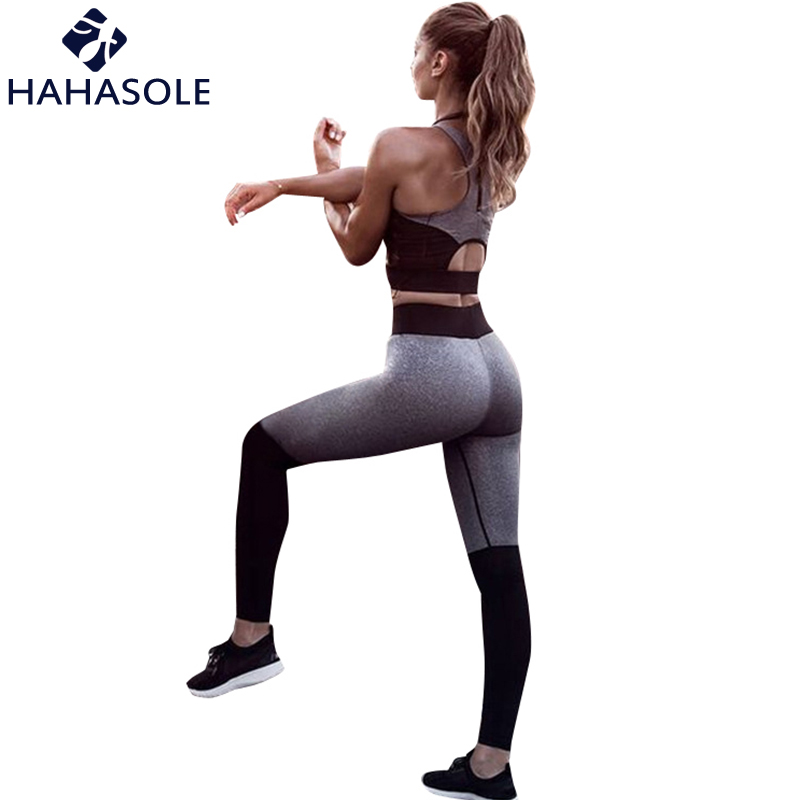 Hahasole Pink Color Yoga Sets Breathable Mesh Patchwork Workout Clothes Women Legging V-neck Bras Sport Suits Female Hwa1122-40 Home