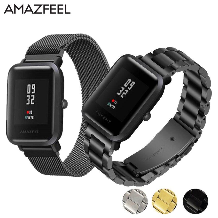 20mm Armband für Amazfit Strap Stahl Gürtel für Xiaomi Huami Amazfit Bip Jugend Smart Uhr Strap Metall Edelstahl handgelenk Band