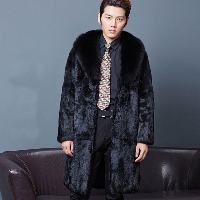 1d0408e510ddb Mens long faux fur coats Splice winter Fox fur Fashion thickening lapel  plus size jackets warm leather black jacket man