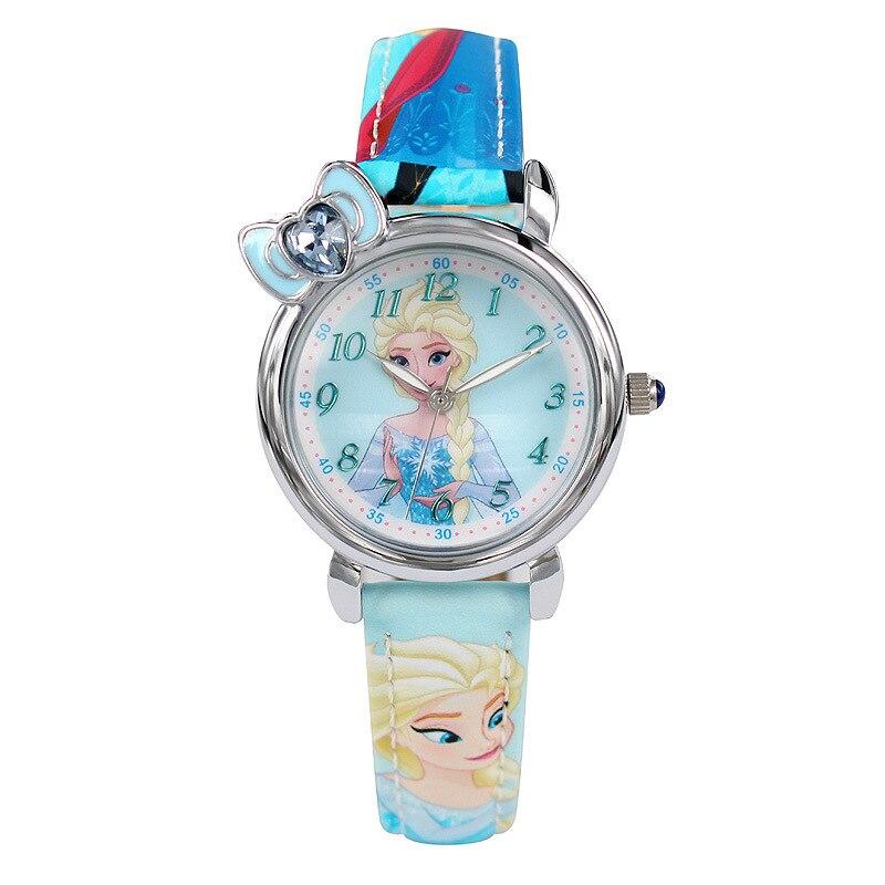 kids girls wrist watches Disney Original Children Girl quartz blue red leather clocks Frozen Cartoon Diamond