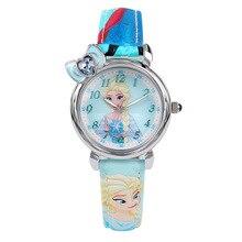 Niños relojes de las niñas las marcas de Disney Niños impermeable relojes de cuarzo chica Relojes de relogio digital de cuero de dibujos animados congelados