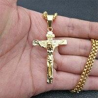 Распятие Иисуса Христос для мужчин Jewelry Золото Цвет Нержавеющая сталь крест кулон с ожерелье ожерелья для мужчин человека дропшиппинг XL1028