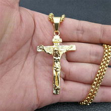 Crucifix Jesus Christ Men Jewelry Gold Color Stainless Steel Cross Pendant With Neck Chain Necklaces For Man Dropshipping XL1028