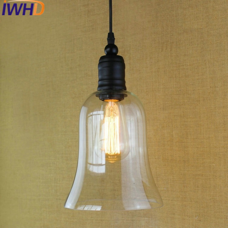 IWHD American Style Retro Vintage Pendant Lights Loft Industrial LED Hanging Lamp Bedroom kitchen Lamparas Home Lighting Fixture iwhd gold iron style loft industrial vintage pendant lights retro birdcage hanging lamp kitchen dining room luminaire suspendu
