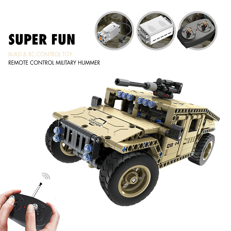 все цены на Pandadomik RC Car Military Hummer Technic Bricks Assembly Remote Control Toys RC Tank Model Building Kit Blocks Toys for Boys