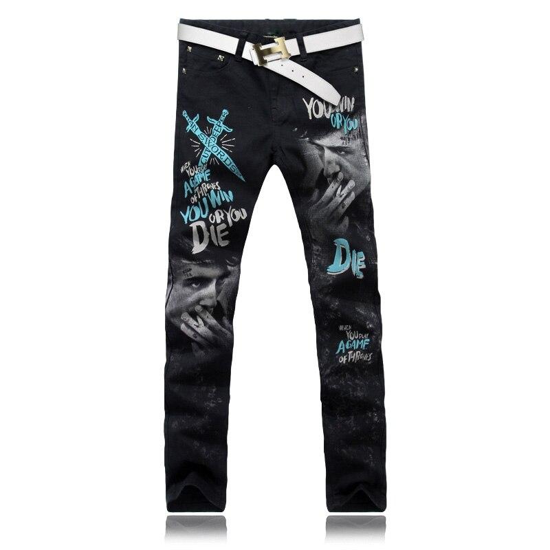 Designer 2018 Jeans Mens Hip Hop printed Korean Stretchy Biker Skinny Punk Denim Streetwear Ripped regular fit jeans for men