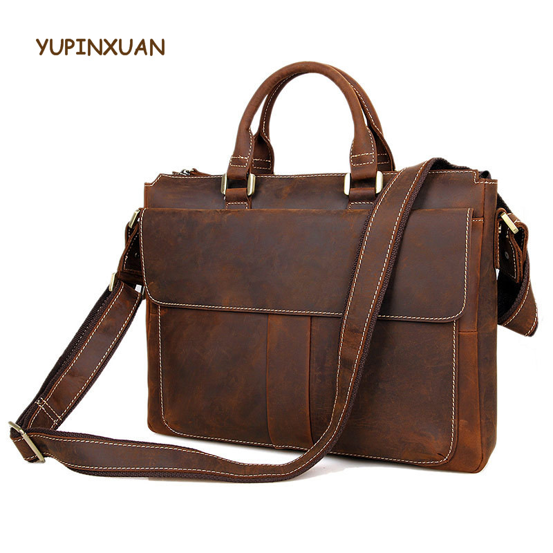YUPINXUAN Europe Luxury Vintage Crazy Horse Leather Messenger Bags for Men Genuine Leather Briefcases as Gift Male Office Bags yupinxuan travel bag high quality leather pu messenger bags for men brown vintage handbag europe black weekender bag for gift