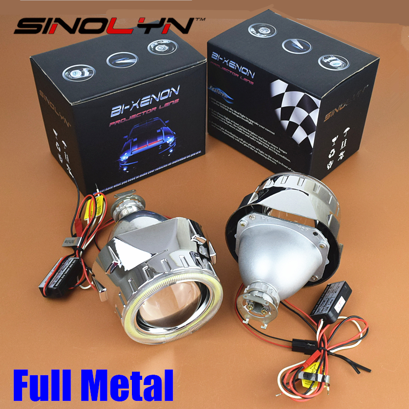 SINOLYN Metal 2.5 inches Leader HID Bixenon Projector Lens Headlight Kit Retrofit With COB LED Angel Eyes Halo DRL Car Styling sinolyn upgrade 8 0 car led cob angel eyes halo bi xenon headlight lens projector drl devil demon eyes h1 h4 h7 kit retrofit diy