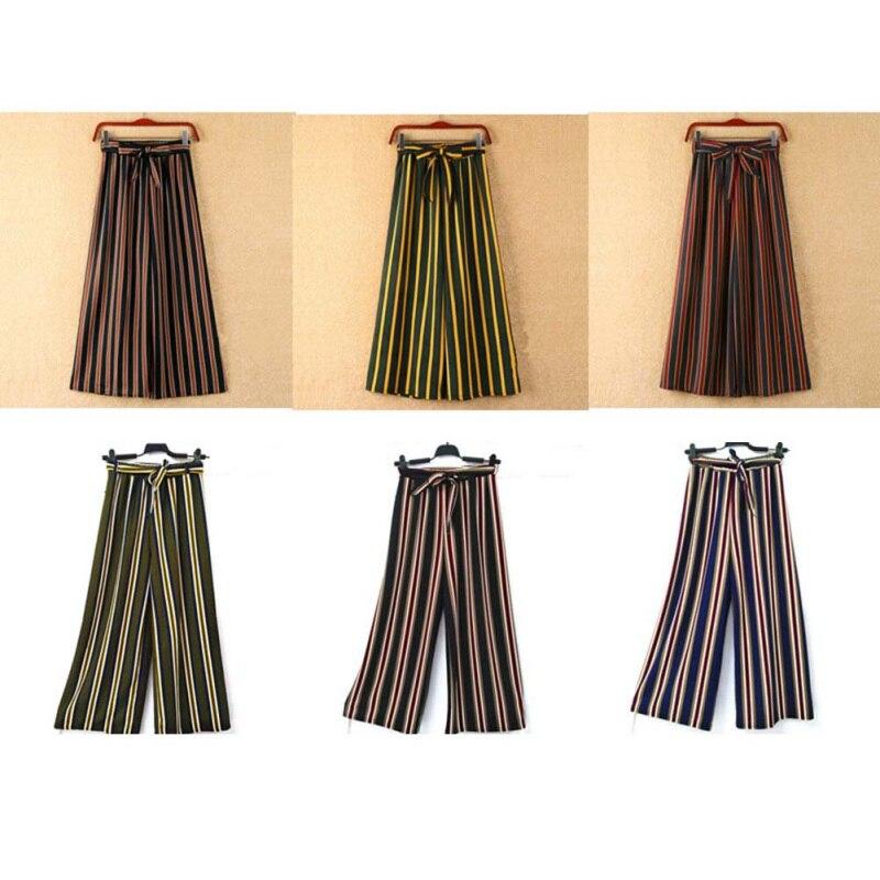 Woman   Pants   Causal Sashes Striped Bowknot Trousers   Wide     Leg     Pants   Fashion Summer Female Trousers Woman   Pants