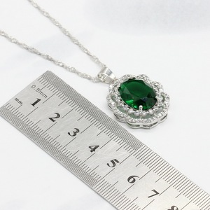 Image 3 - Green Crystal Silver Color Bridal Jewelry Sets For Women Necklace Pendant Bracelets Earrings Rings Gift Box
