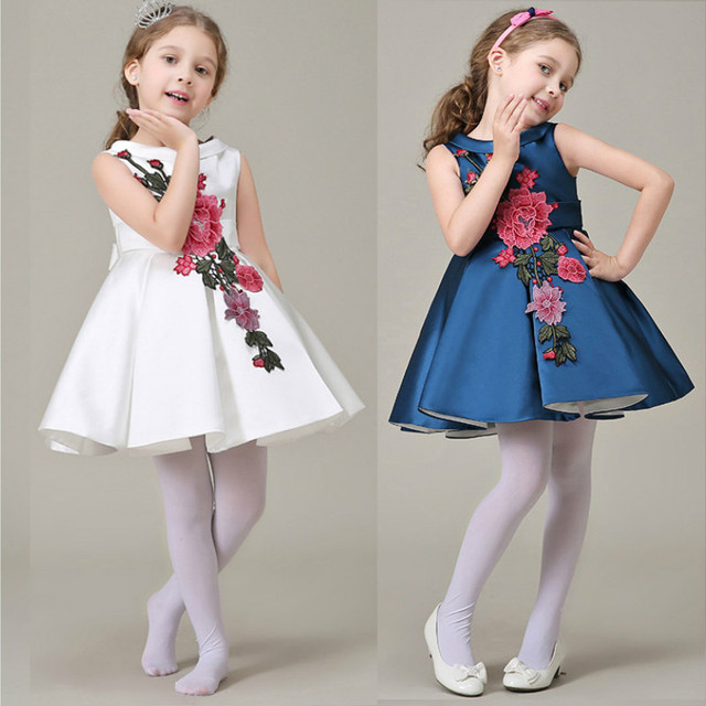 5c520c7f2df5 navy blue flower girl dresses princess costume white girls cotton ...