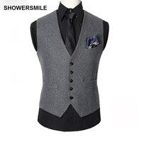 SHOWERSMILE צמר תערובות גברים אפור חורף סתיו אפוד אפוד חזייה ללא שרוולים Slim Fit מקטורן חליפה בסגנון האופנה אנגליה