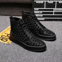 British luxury fashion men party banquet dresses soft leather rivet shoes flat platform shoe personality hip hop ankle boots man