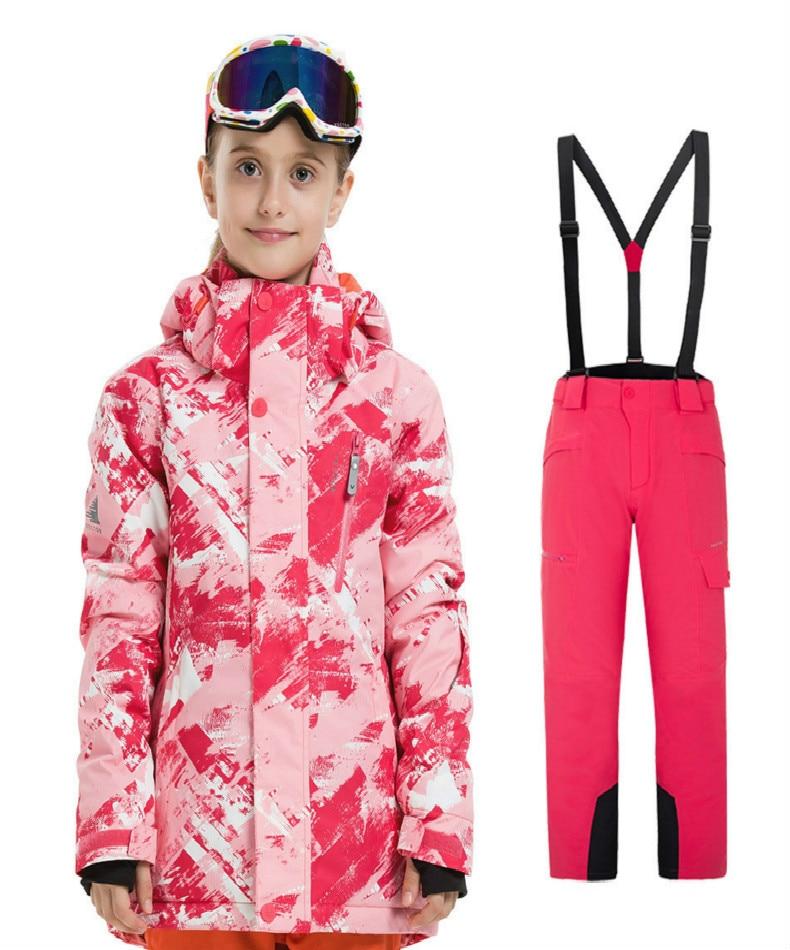 Combinaison de ski d'extérieur pour garçons et filles coupe-vent imperméable à l'eau camouflage thermique imprimé combinaison de ski pour enfants