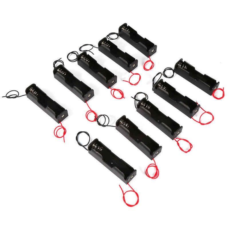 Nuevo estuche protector de batería plástico 18650 caja de almacenamiento con cables de alambre para 18650 baterías 3,7 V negro para 18650 recargable DIY