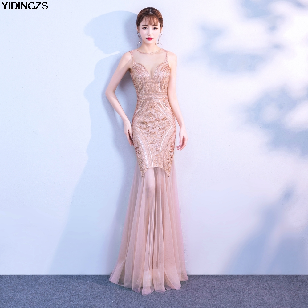 YIDINGZS Sequins Beading   Prom     Dresses   Mermaid Long Formal Party   Dress   Fast Shipping