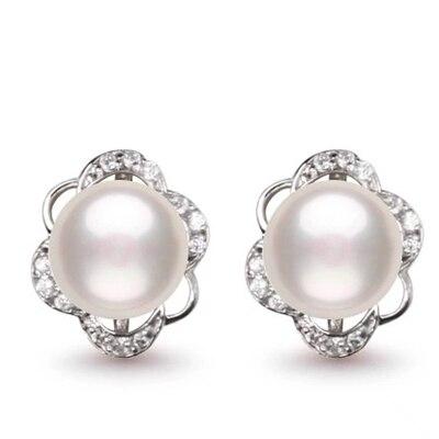 Eternal wedding Women Gift word 925 Sterling silver real Post natural pearl earrings, simple pearl stud earrings, flower shaped