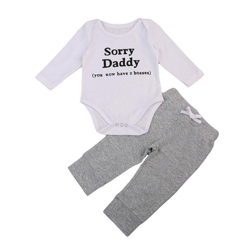 2PCS Clothes Set 2018 Spring Newborn Baby Boy Bodysuit Playsuit Jumpsuit Sorry Daddy+Long Belt Pants Outfit Clothes