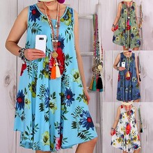 2019 summer new loose printed sleeveless womens dress