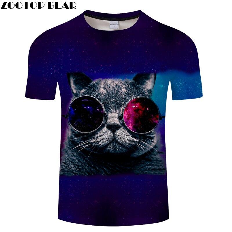 Glasses Cat tshirts Printed Tee Men Women t shirt 3D Funny t-shirt Cartoon Short Sleeve Top Streatwear 2018 Drop Ship ZOOTOPBEAR