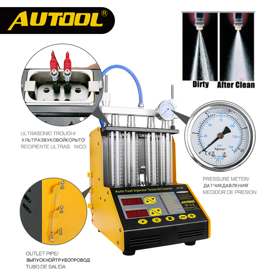 AUTOOL CT150 Car Fuel Injector Tester Cleaning Machine Ultrasonic Fuel Injectors Nozzle Cleaner For Vehicle 4 Cylinders 110/220V