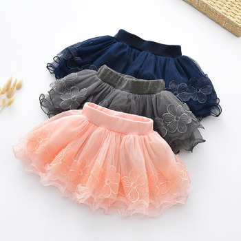 Spring Fall Summer Clothing Children Girl Cute Baby Kid Floral Tutu Cotton Skirts Lace Cotton Flower Princess High Quality 2-9Y 1