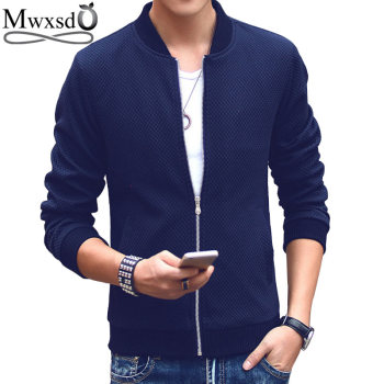 Mwxsd brand autumn men Slim fit knit jacket mens plaid bomber jacket hombres chaqueta jaqueta plus size M-4xl
