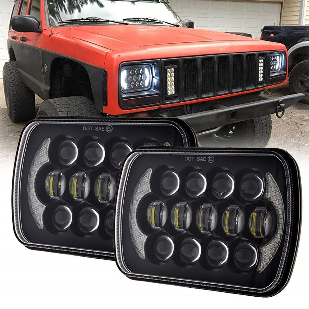 Pair 105W 5X7 7X6 inch Rectangular Sealed Beam LED Headlight With DRL for Jeep Wrangler YJ