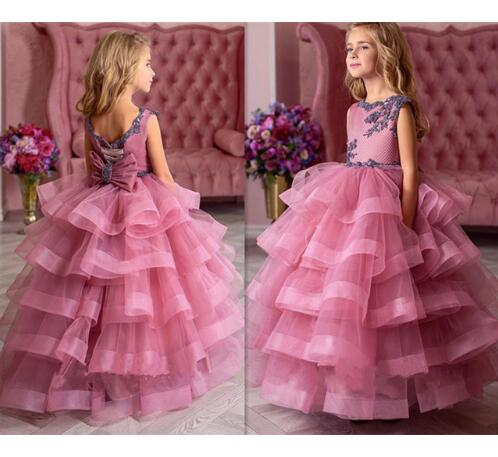 New Fluffy Pageant Dresses for Girls Pink O-neck Ball Gown Lace Appliques Flower Girl Dresses for Weddings Kids Birthday GownNew Fluffy Pageant Dresses for Girls Pink O-neck Ball Gown Lace Appliques Flower Girl Dresses for Weddings Kids Birthday Gown