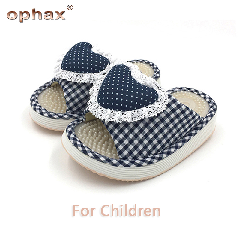 OPHAX Children Reflexology Foot Acupoint Slipper Massage Promote Blood Circulation Heart Shape Lace Foot Care Shoes Relaxation povihome foot massage reflexology pads toe pressure plate mat blood circulation shiatsu sports