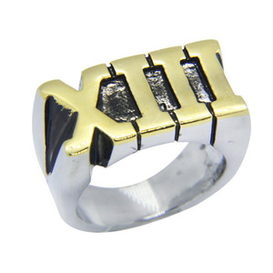 1pc New Design Roma Letter Golden 13 Ring 316L Stainless Steel Jewelry Band Party Cool XIII 13 Ring