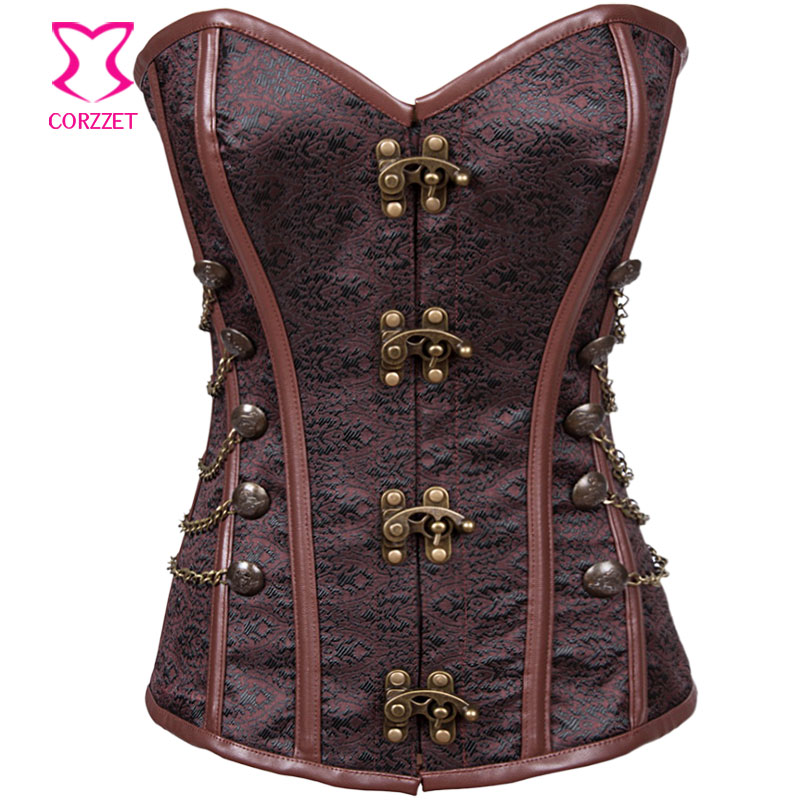 Vintage Brown Brocade With Button Chain Steel Boned Overbust Corset Steampunk Clothing Sexy Korset Gothic Corsets and Bustiers