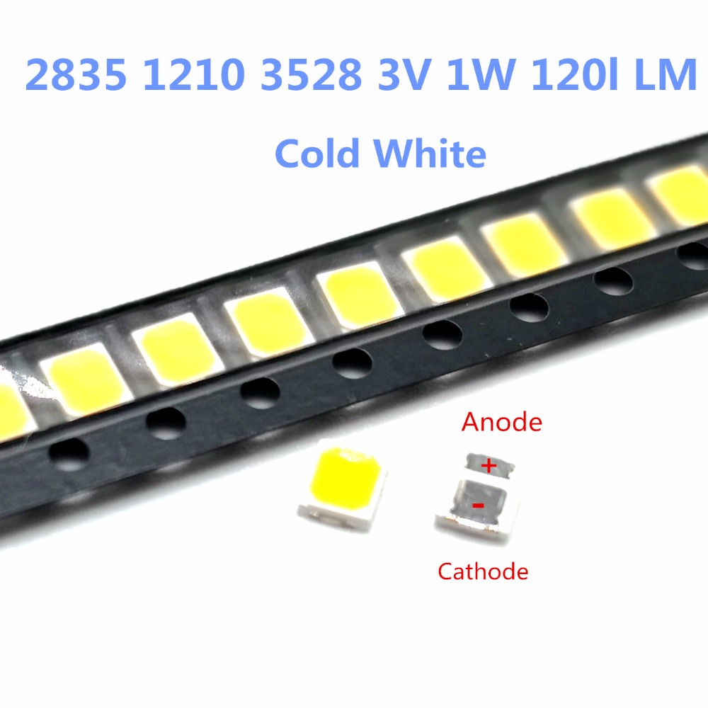 100pcs Lg Led Backlight 1210 3528 2835 1w 100lm Cool White Lcd Backlight For Tv Tv Application Cct 13000-17000k Active Components Diodes