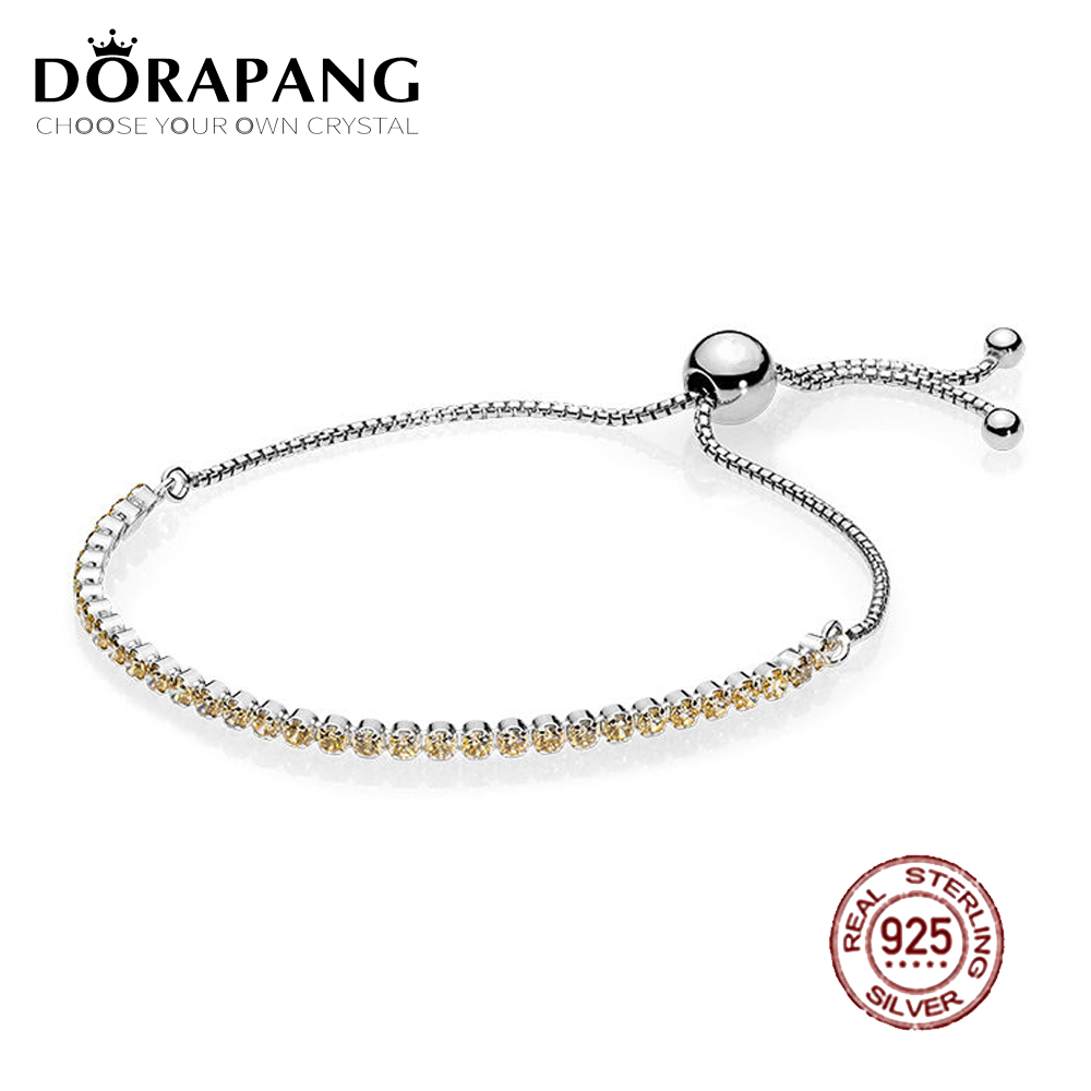 DORAPANG 2018 New 100% 925 Sterling Silver Golden Sparkling Strand Bracelet Golden-Colored CZ For Women Fashion DIY Gift Jewelry цены
