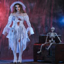 Free shipping adult halloween horror role play ghost bride female zombie game uniform corpse costume dress for women