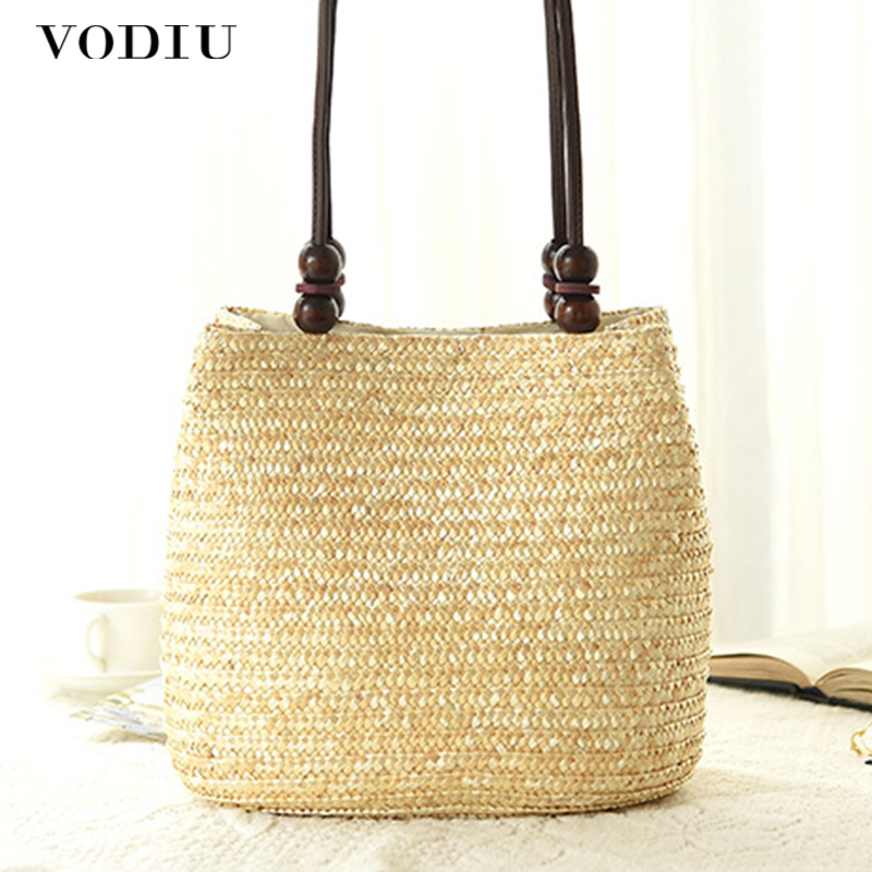 f7b415662e97 US $13.49 35% OFF|Women Handbag Straw Bag Summer Woven Rattan Knitted  Handmade Shopping Totes Beach Bag Casual Bucket Women Shoulder Bag  Fashion-in ...