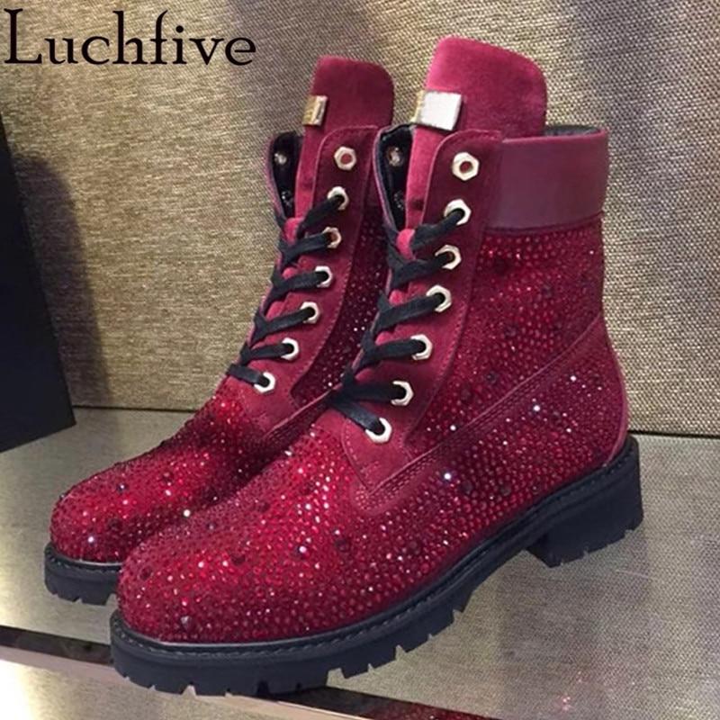 2018 Bling bling caviglia stivali per le donne di cristallo con borchie tacco basso di strass vera pelle occidentale martin botas mujer