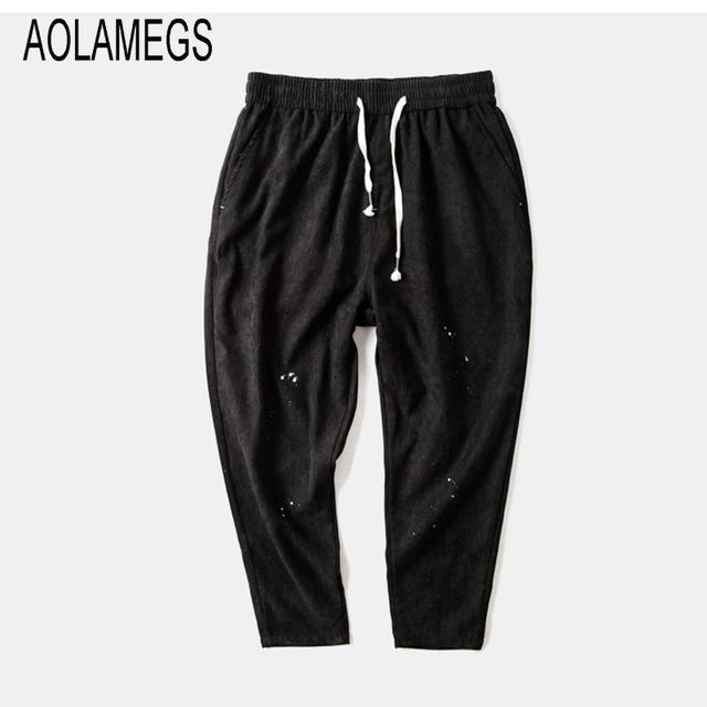 Aolamegs Mens Casual Pantalones de estilo Japonés Flojo Harén Pantalones Colapso Pantalones 2016 Otoño Lápiz Pantalones Deportivos de Calidad Superior M L XL