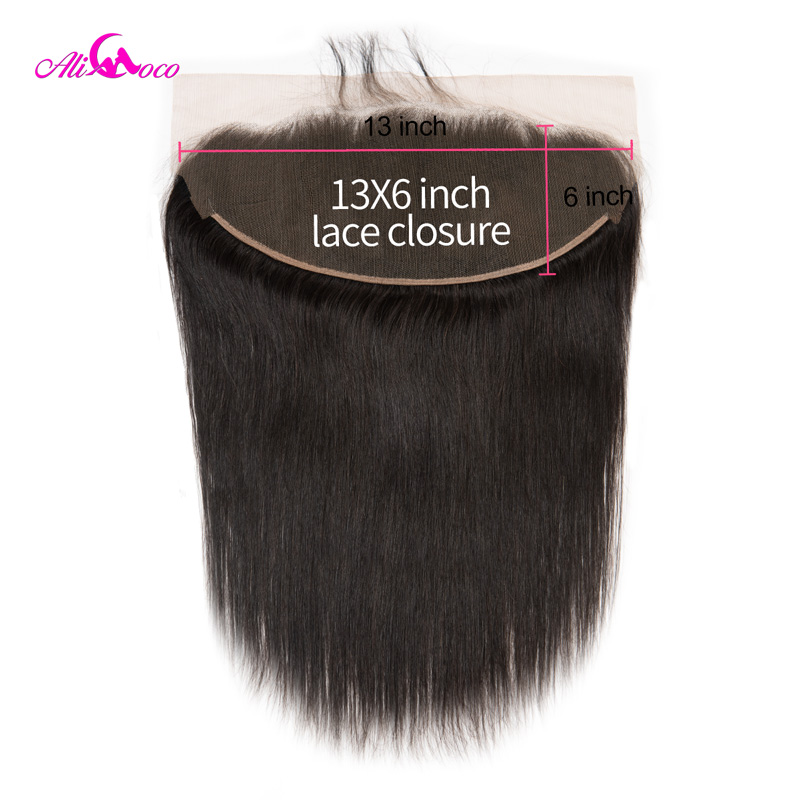 Ali Coco Brazilian Straight Hair Lace Frontal 13*6 Ear To Ear Lace Frontal Closure 8-20 Inch Swiss Lace Natural Color Remy Hair