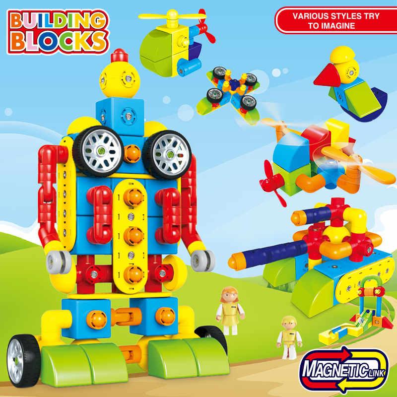 Магнитные игрушки для детей строительство Пластик трубы строительные блоки трек военные зимние Праздничные рождественские подарки для детей