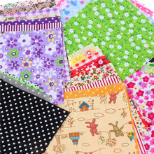 50pcs/lot Plain Thin Cotton Fabric Patchwork For DIY Quilting Sewing Fat Quarters Bundle Tissue Telas Tilda Needlework 10*10cm(China)