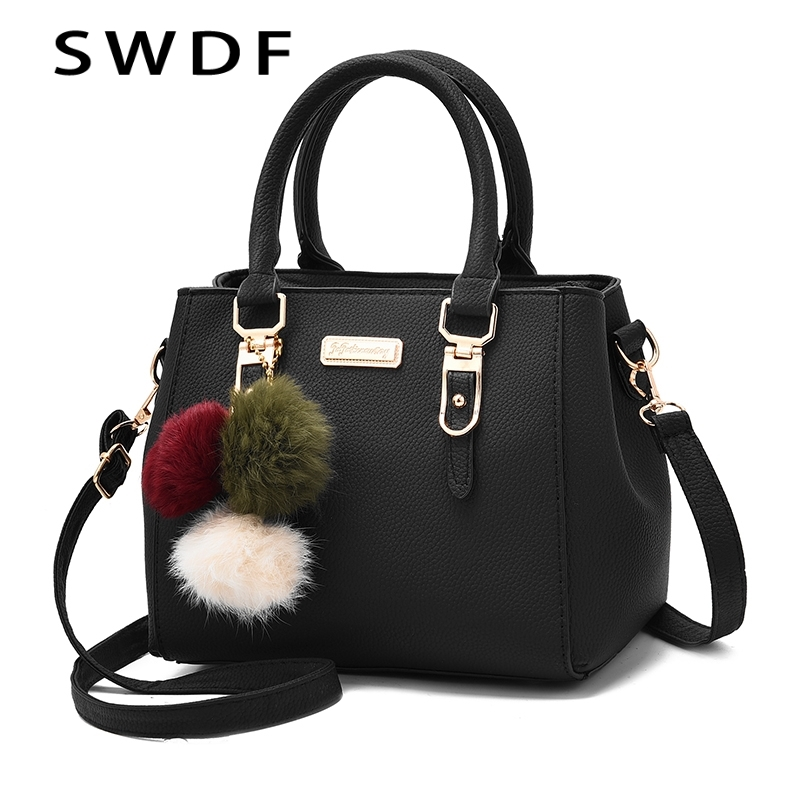 SWDF Sequined Handbag Totes Shoulder-Bags Party Purse Hairball-Ornaments Messenger Crossbody