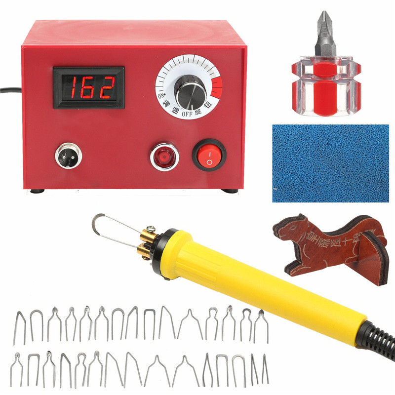 50W AC 220V Digital Multifunction Pyrography Machine US Plug with Pyrography Pen Wood Burning Pen Craft Tool Kit Sets us plug 24x 30w 110v wood burning pyrography tool kit craft wood burning pen tips full set numbers stencil for hobby craft