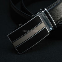 Fashion Mens Luxury Belts Black Genuine Leather Automatic Smooth Buckle Belts Formal