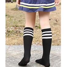 Baby Girls Knee High Socks Kids Children Cute leg Warmers Solid Cotton Girl Long Tube Black Socks Three Bars Shool Sneaker Socks-in Socks from Mother & Kids on expressjinni