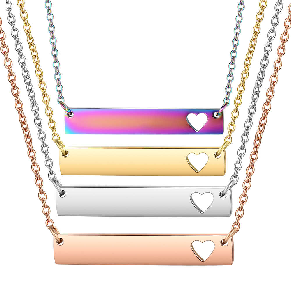 3pcs/lot Hollow-out Heart Bar Personalized Necklace, Women Choker Necklace in Rose Gold Filled Rainbow 4 Colors Jewelry Gifts