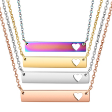 3pcs/lot Hollow-out Heart Bar Personalized Necklace, Women Choker Necklace in Rose Gold Filled Rainbow 4 Colors Jewelry Gifts alloy v shaped hollow out choker necklace