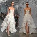 Lace up alta baixa Vestidos de Casamento Encantador Querida applique curto frente tempo de volta Do Vestido de Casamento fora do ombro robe de mariee